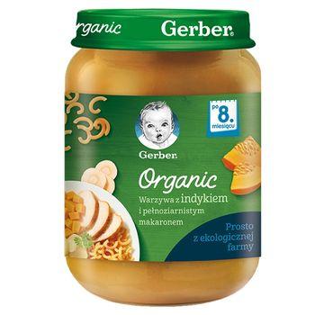 Gerber Organic Warzywa z indykiem i pełnoziarnistym makaronem dla niemowląt po 8. miesiącu 190 g