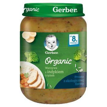 Gerber Organic Warzywa z indykiem i ryżem dla niemowląt po 8. miesiącu 190 g