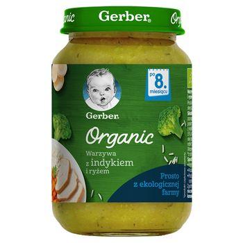 Gerber Organic Warzywa z indykiem i ryżem po 8. miesiącu 190 g