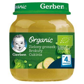 Gerber Organic Zielony groszek brokuły cukinia dla niemowląt po 4. miesiącu 125 g