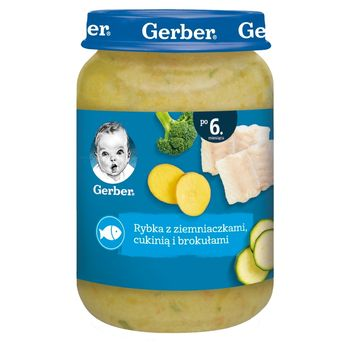 Gerber Rybka z ziemniaczkami cukinią i brokułami dla niemowląt po 6. miesiącu 190 g