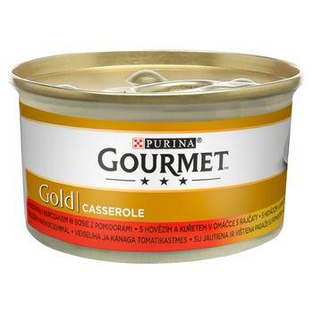 Gourmet Gold Karma dla kotów casserole z wołowiną i kurczakiem w sosie z pomidorami 85 g