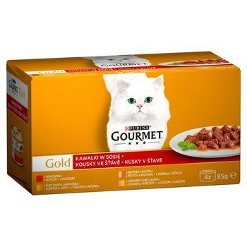 Gourmet Gold Karma dla kotów kolekcja kawałków w sosie 340 g (4 x 85 g)