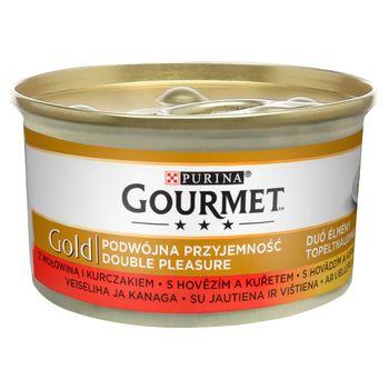 Gourmet Gold Karma dla kotów podwójna przyjemność wołowina i kurczak 85 g