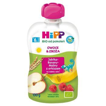 HiPP BIO Mus owocowy owoce & zboża po 6. miesiącu jabłka-banany-maliny z orkiszem 100 g