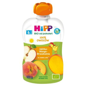 HiPP BIO Mus owocowy 100% owoców po 6. miesiącu jabłka-mango-brzoskwinia 100 g
