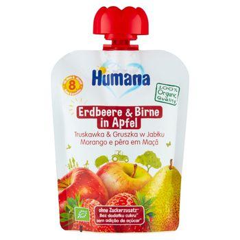 Humana 100% Organic Mus truskawka & gruszka w jabłku po 8. miesiącu 90 g