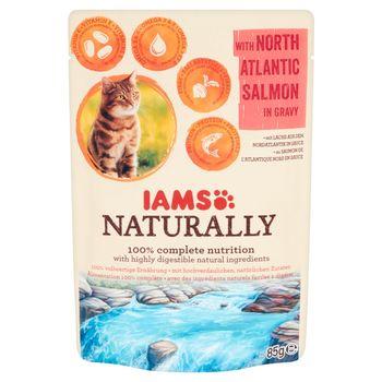 IAMS Naturally z północnoatlantyckim łososiem w sosie Karma dla dorosłych kotów 85 g
