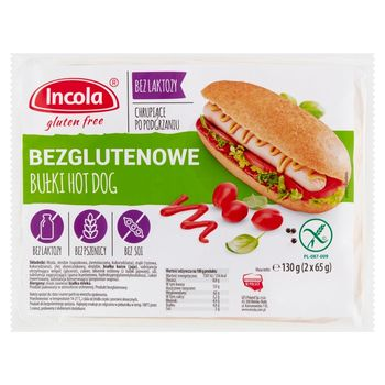 Incola Bułki hot dog bezglutenowe 130 g (2 x 65 g)