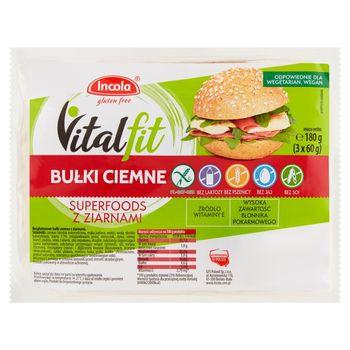 Incola Vitalfit Bułki ciemne superfoods z ziarnami 180 g (3 x 60 g)