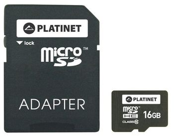 Karta micro Secure Digital High-Capacity (microSDHC) PLATINET microSDHC Secure Digital + Adapter SD 16GB class10 PMMSD1610