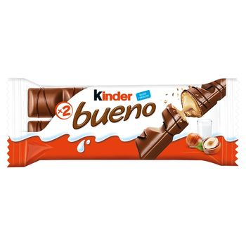 Kinder Bueno Wafel w mlecznej czekoladzie wypełniony mleczno-orzechowym nadzieniem 43 g (2 x 21,5 g)