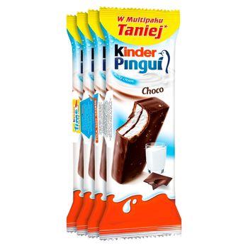 Kinder Pingui Choco Biszkopt z mlecznym nadzieniem pokryty czekoladą 120 g (4 x 30 g)