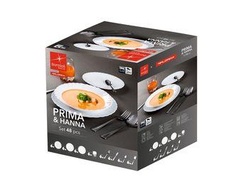 Komplet obiadowy Prima Hanna 48 elementów Sztućce Talerze Szklanki