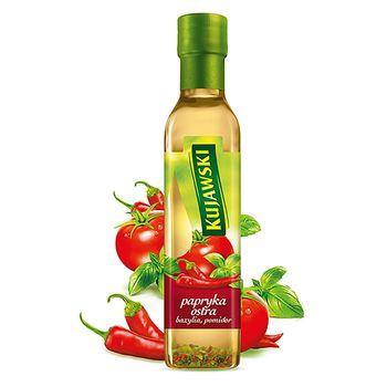 Kujawski Olej rzepakowy z pierwszego tłoczenia z papryką ostrą pomidorami i bazylią 250 ml