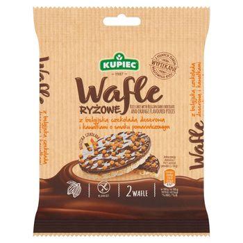 Kupiec Wafle ryżowe z belgijską czekoladą deserową i kawałkami o smaku pomarańczowym 36 g (2 sztuki)