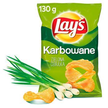 Lay's Chipsy ziemniaczane karbowane o smaku zielonej cebulki 130 g