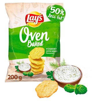 Lay's Oven Baked Pieczone formowane chipsy ziemniaczane o smaku jogurtu z ziołami 200 g