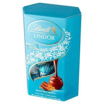 Lindt Lindor Praliny z czekolady mlecznej z kryształkami soli i nadzieniem karmelowym 200 g