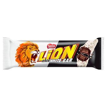 Lion Black White Nadziewany wafel z karmelem i płatkami pszennymi w białej polewie 40 g