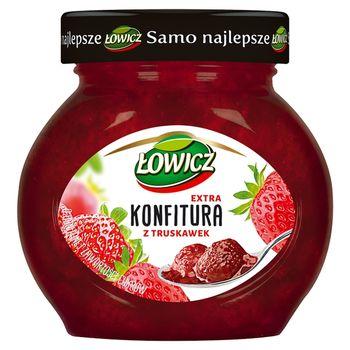 Łowicz Konfitura extra z truskawek o obniżonej zawartości cukrów 240 g