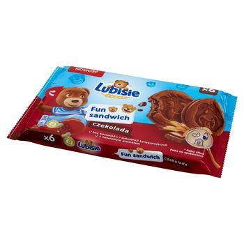 Lubisie Fun Sandwich Ciastka biszkoptowe przekładane nadzieniem kakaowym czekolada 180 g (6 sztuk)