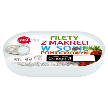 Mega Ryba Filety z makreli w sosie pomidorowym 170 g