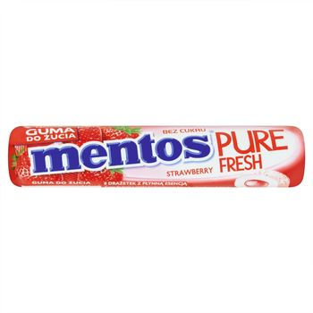 Mentos Pure Fresh Strawberry Guma do żucia bez cukru 15 g (8 sztuk)