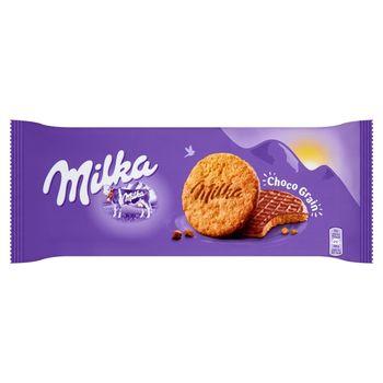 Milka Choco Grain Ciastka z płatkami owsianymi oblane czekoladą mleczną z mleka alpejskiego 126 g