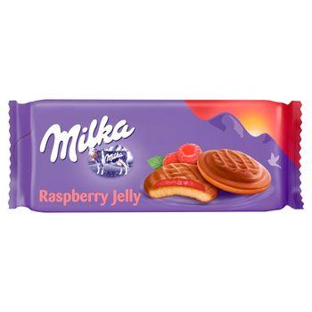 Milka Choco Jaffa Biszkopty z galaretką o smaku malinowym oblewane czekoladą mleczną 147 g