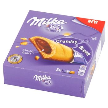 Milka Crunchy Break Ciastka z nadzieniem orzechowym i czekoladą mleczną 130 g (5 x 26 g)