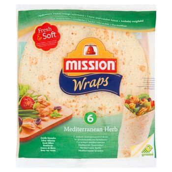 Mission Wraps Tortilla z mąki pszennej z ziołami śródziemnomorskimi 370 g (6 sztuk)