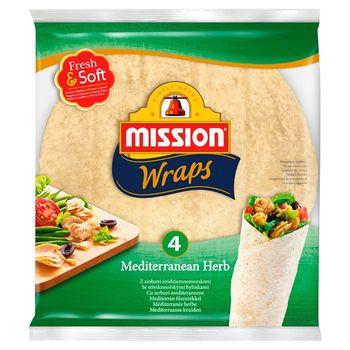 Mission Wraps Tortille z mąki pszennej z ziołami śródziemnomorskimi 245 g (4 sztuki)
