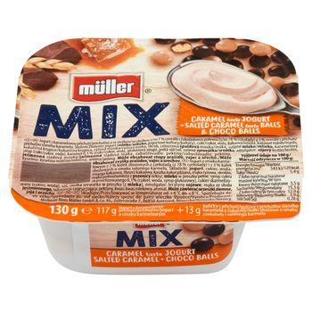 Müller Mix Jogurt o smaku karmelowym z kulkami z czekoladą i o smaku solonego karmelu 130 g