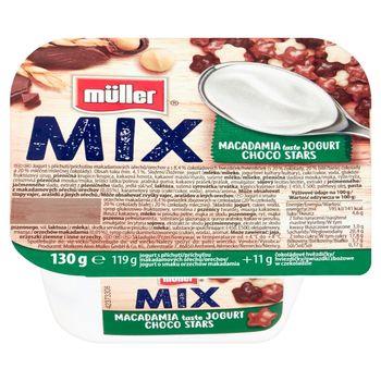 Müller Mix Jogurt o smaku orzechów makadamia z gwiazdkami zbożowymi w czekoladzie 130 g