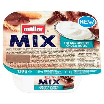 Müller Mix Jogurt o smaku śmietankowym z rurkami w polewie z czekolady mlecznej 130 g