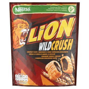 Nestlé Lion WildCrush Chrupiące płatki z nadzieniem o smaki karmelowo-czekoladowym 350 g
