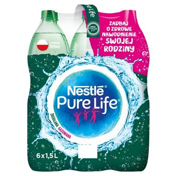 Nestlé Pure Life Woda źródlana gazowana 6 x 1,5 l
