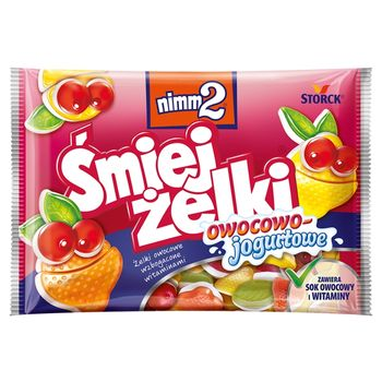 nimm2 Śmiejżelki owocowo-jogurtowe Żelki owocowe wzbogacone witaminami 100 g