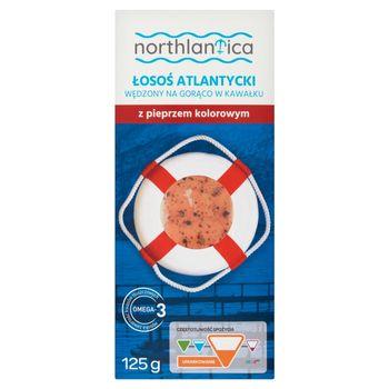 Northlantica Łosoś atlantycki wędzony na gorąco w kawałku z pieprzem kolorowym 125 g