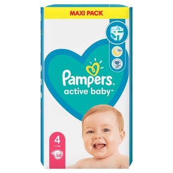 Pampers Active Baby, rozmiar4, 58pieluszek, 9kg-14kg