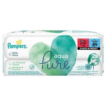 Pampers Aqua Pure Chusteczki nawilżane dla niemowląt 2 opakowania = 96 chusteczek nawilżanych