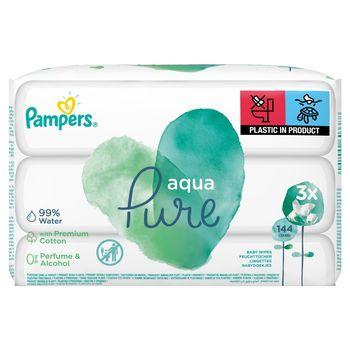 Pampers Aqua Pure Chusteczki nawilżane dla niemowląt 3 opakowania = 144 chusteczek nawilżanych