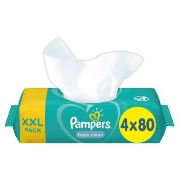 Pampers Fresh Clean Chusteczki nawilżane dla niemowląt 4 opakowania = 320 chusteczek nawilżanych