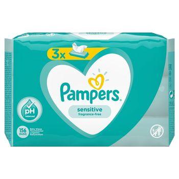 Pampers Sensitive Chusteczki nawilżane dla niemowląt 3 opakowania = 156 chusteczek nawilżanych