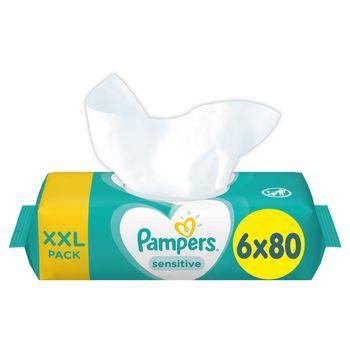 Pampers Sensitive Chusteczki nawilżane dla niemowląt 6 opakowań = 480 chusteczek nawilżanych