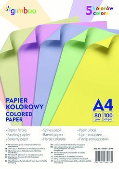 Papier kolorowy 100 arkuszy A4 5 Kolorów Pastelowych 80g.