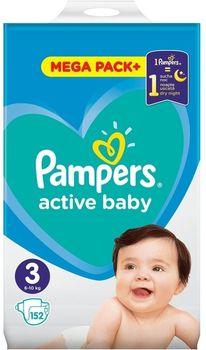 Pieluchy PAMPERS Active Baby Rozmiar 3, 152 pieluszki, 6-10 kg