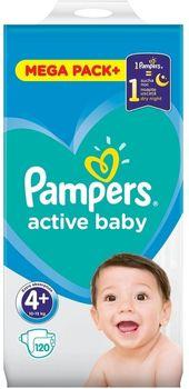 Pieluchy PAMPERS Active Baby Rozmiar Rozmiar 4+, 120 pieluszek, 10-15 kg