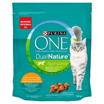 PURINA ONE Dual Nature Spirulina Karma dla dorosłych kotów kurczak jako pierwszy składnik 750 g